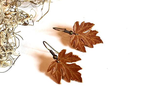 Small Sienna Brown Maple Leaf Earrings