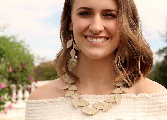 White Laurel Leaf Leather Statement Collar Necklace