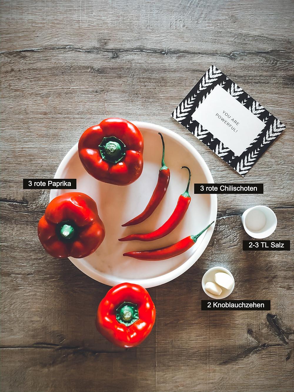 focusflowfood Adschika einfaches Rezept gesund schnelle Zubereitung Paprika Chilischoten scharf