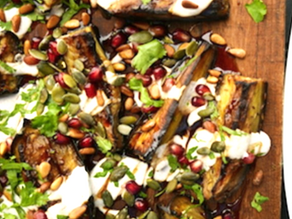 Aubergine Wedges with Tahini Dressing