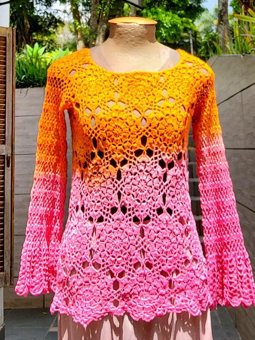 Blusa manga longa de Crochê bicolor Laranja e Rosa