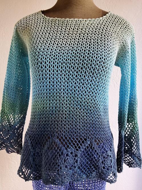 Blusa manga longa Crochê - Cru, Turquesa e Azul petróleo