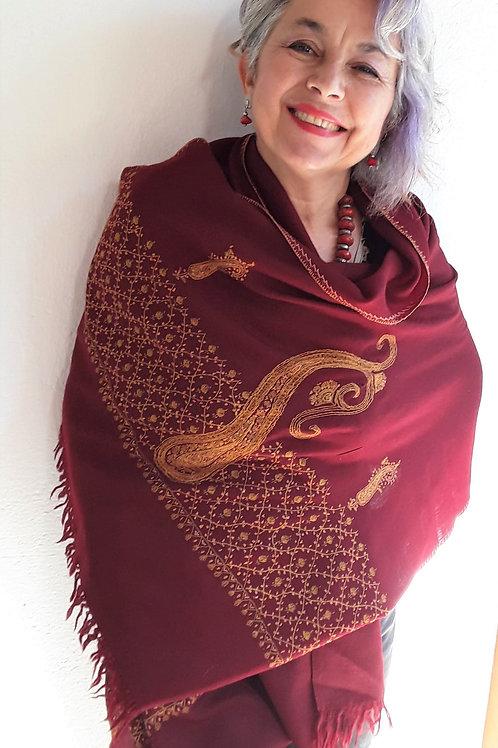Pashmina de Nepal pura Lã. Vinho bordada