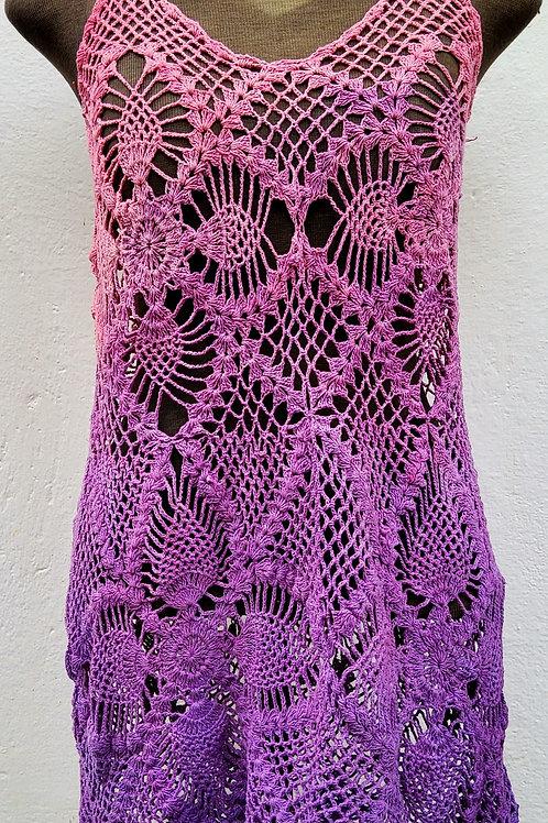 Mini vestido ou regata longa de Crochê bicolor Alfazema e Rosa antigo