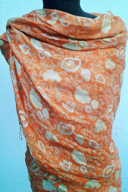 Seda pura estampada à mão em batik javanês tjaps