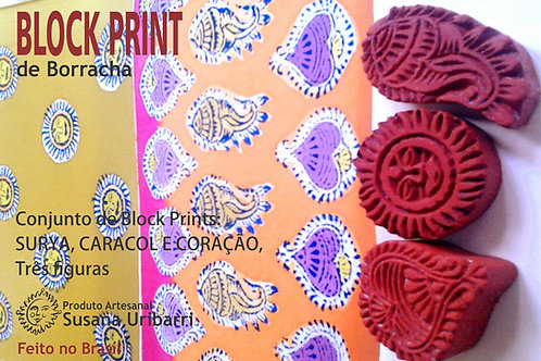 Block Print - SURYA, CARACOL E CORAÇÃO