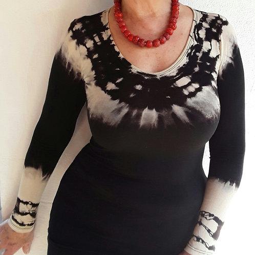 Blusa de Malha Tie-Dye em Preto