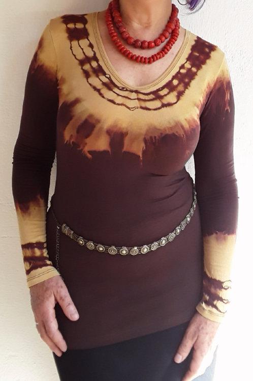 Blusa em Malha Tie-Dye Chocolate