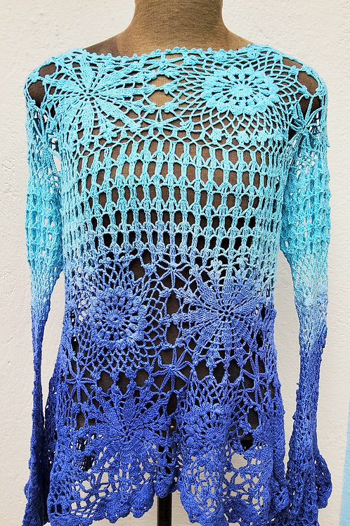 Blusa manga longa de Crochê bicolor Turquesa e Índigo