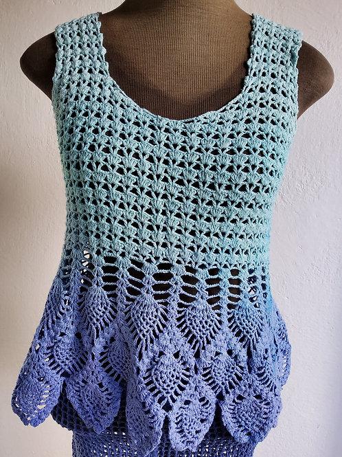 Regata de Crochê bicolor Turquesa e Hortência