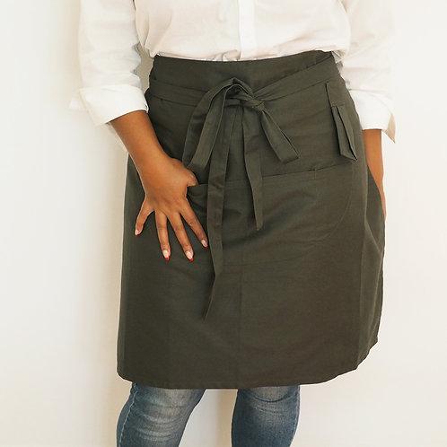 Short Green Half Apron for women