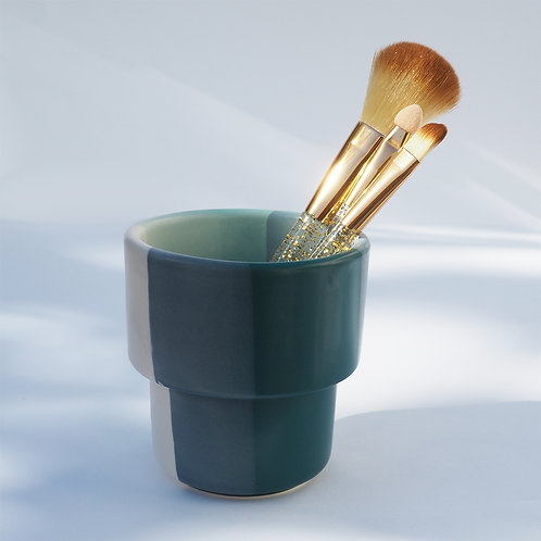 Turquoise Rainbow Brush Holder