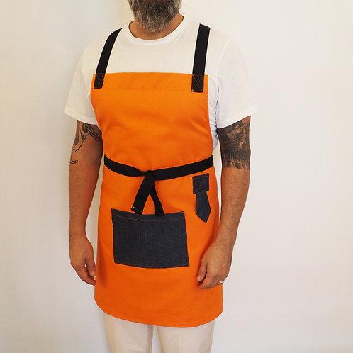 Best Long Chef Orange Denim Apron Men