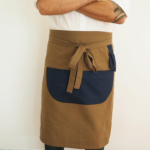 Half Camel and Navy Blue Unisex Apron