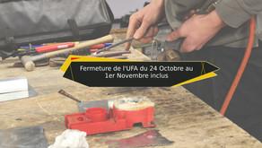 Fermeture de l'UFA pour les congés de la Toussaint