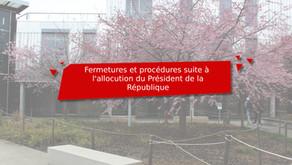 [Modifié] Mesures suite à l'annonce du Président de la République le 31/03/2021