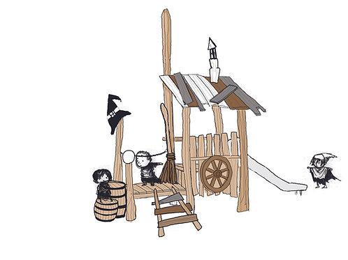 De heksenhut met RVS glijbaan