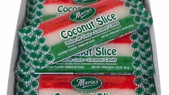 Coconut Slice Candy Bar - Watermelon Colors (One Bar)