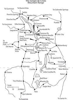 Map of the Sangre de Cristos