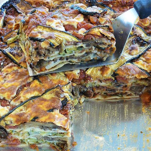 Lasagnes de printemps végétariennes courgettes et aubergines