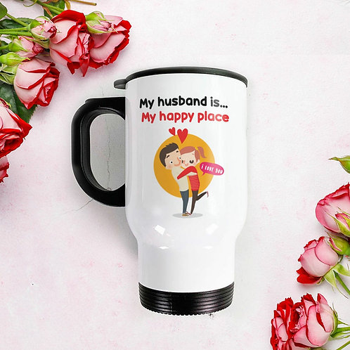 Travel Mug - My husband is my happy place