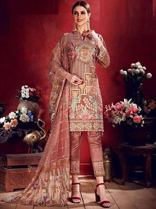 Beige Grey color Semi Stitched Suite with Pink & Green designs