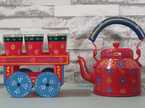 Traditional Hand Painted Kettle Set - Red