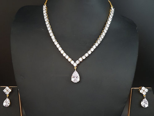 CZ Necklace with Solitaire Diamond