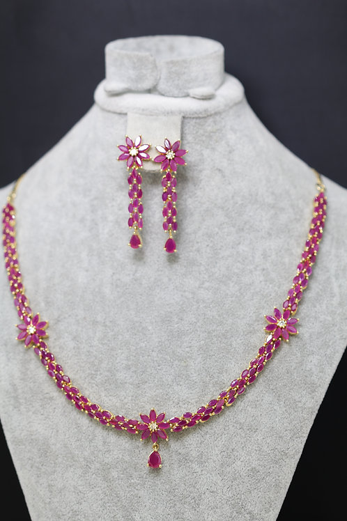 Short Necklace with glass rubies.