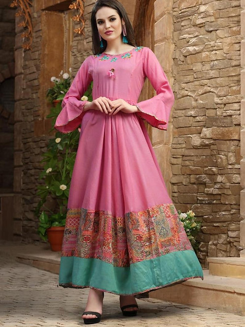 Rose Pink kurti with Turquoise border (Size : 40)