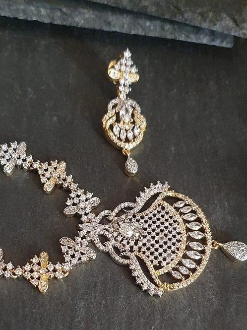 CZ diamond necklace set