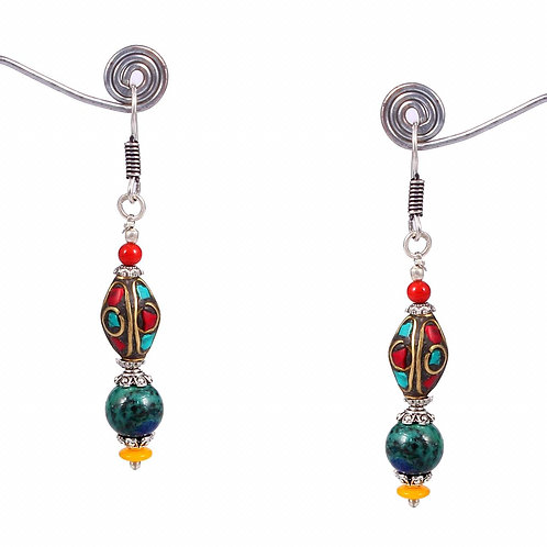 Tibetan earrings with semi-precious stones
