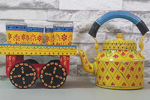 Traditional Hand Painted Kettle Set - Yellow