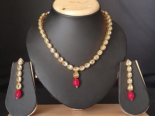Kundan Necklace -Pink beads
