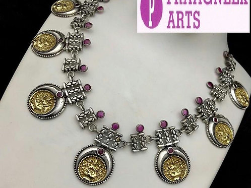 Oxidised silver dual tone Goddess Laxmi short necklace