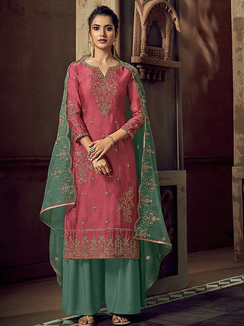 Flamingo Pink color Semi Stitched Suite with Green bottom & dupatta