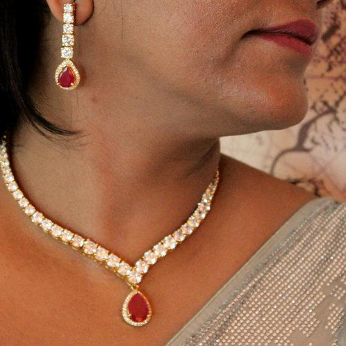 CZ diamonds necklace set