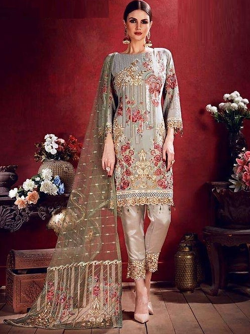 Silver Semi Stitched Suite with Red & Golden designs