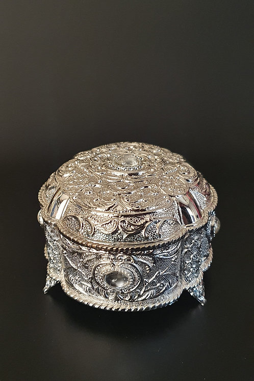Silver plated designer storage box.
