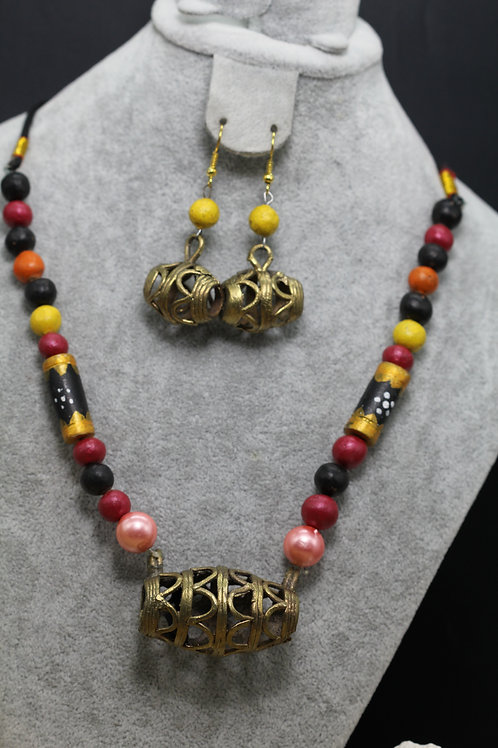 Handmade dokhra pendant with terracota beads necklace