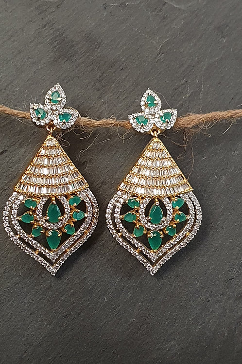 CZ/American diamond earrings with green stones