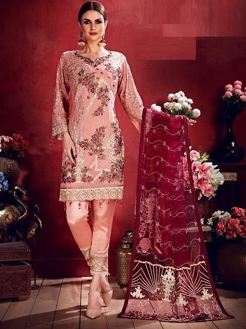 Sea Pink color Semi Stitched Suite with Red & Cream designs