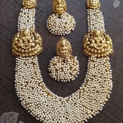 Goddess Laxmi temple jewellery (Pearls)