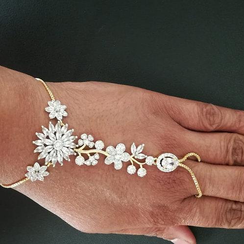 CZ adjustable ring bracelet
