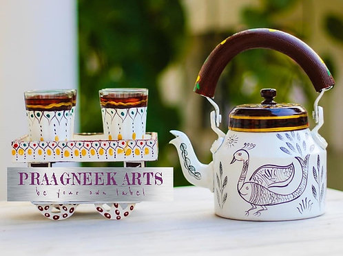 Traditional Hand Painted Kettle Set - White