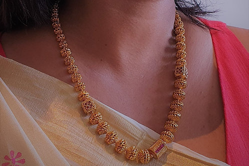 Antique finish and kemp stone necklace