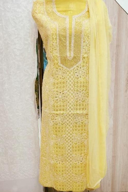 Lucknowi Karigari's - Chikankari with Mukaish Dress Material