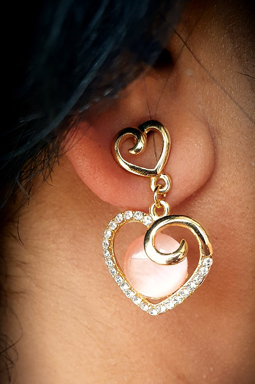 Pink Chalcedoney stone earrings