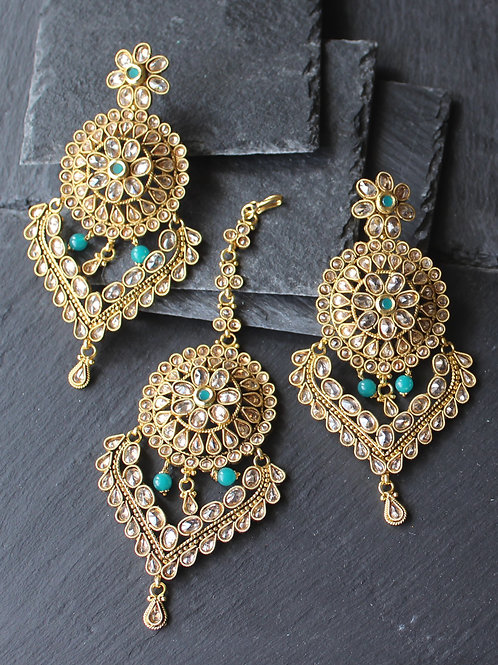 Maang tikka / Pasa set in kundan