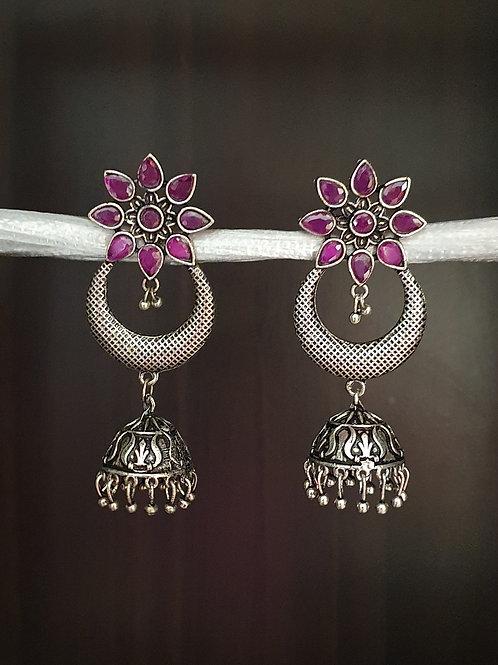 Silver lookalike earrings with semi precious stones